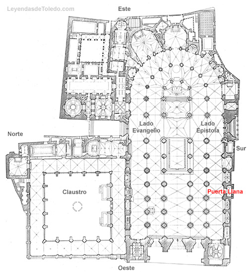 Plano: Puerta Llana de la Catedral de Toledo. Acceso visita turística