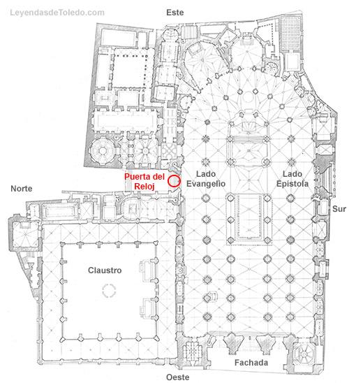 Plano: Puerta del Reloj de la Catedral de Toledo.