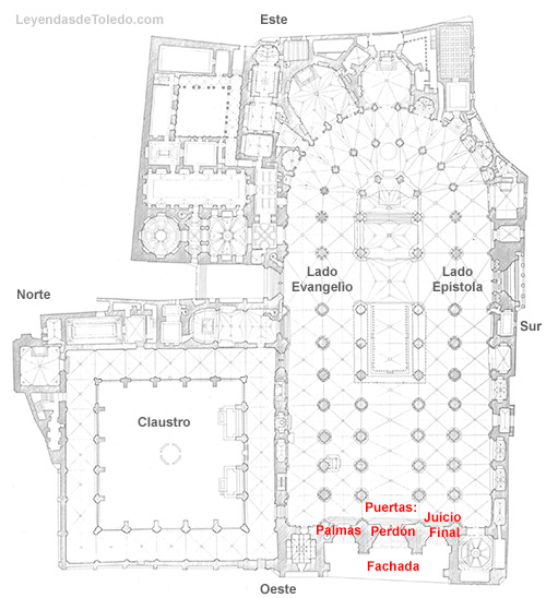 Plano: Puertas en la fachada de la Catedral de Toledo.