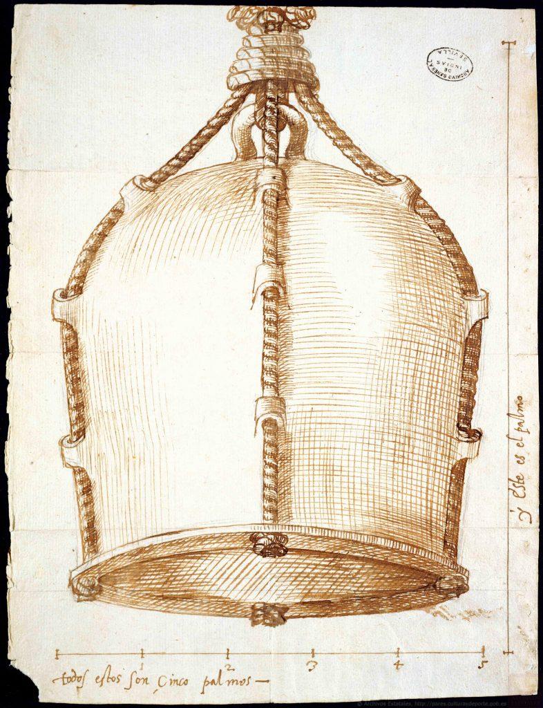 Dibujo de una campana para bucear y sacar objetos del fondo del mar inventada por José Bono, natural de Palermo. ©MECD. Archivos Estatales (España)