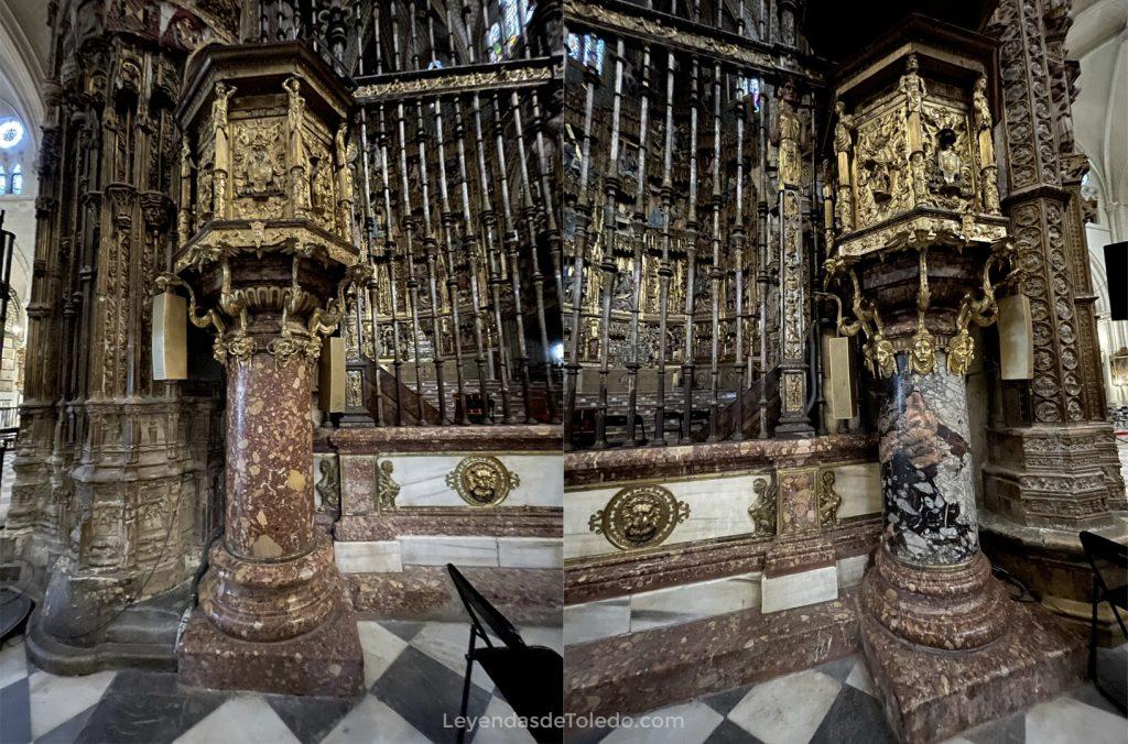 Púlpitos en los laterales de la Capilla Mayor de la Catedral. La columna que sostiene el derecho pudo pertenecer a la vivienda del Cid en Toledo. El metal perteneció al autómata que hubo en la Capilla del Condestable.