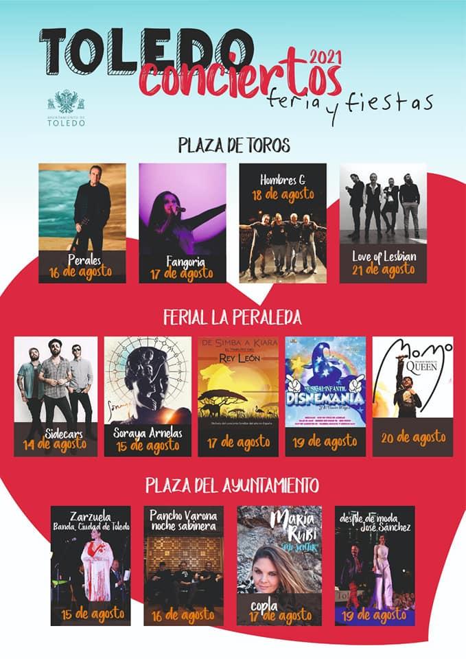 Conciertos Ferias y Fiestas Toledo agosto 2021